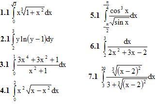 Вариант 1 ИДЗ 9.1 7 интегралов